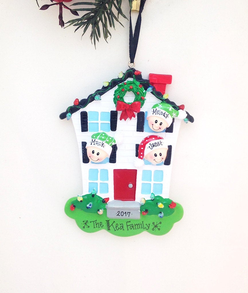 Family of 3 Home for Christmas Personalized Ornament