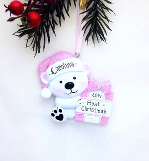 Little Girl Bear Personalized Christmas Ornament / First Christmas / Child / Pink