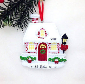 Red Brick House Personalized Christmas Ornament / New Home Ornament