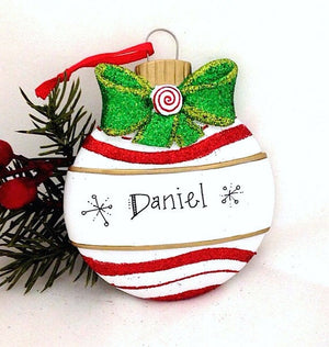 Red and White Christmas Ball with Bow Personalized Christmas Ornament / First Christmas / Child's Ornament / Personalized Gift
