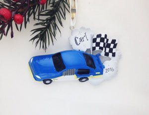 Blue Stock Car Personalized Christmas Ornament / Racing Ornament / Child Ornament