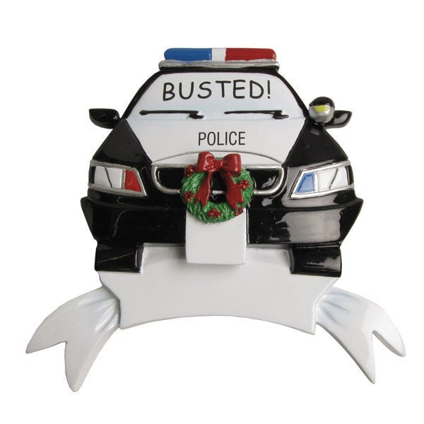 Black and White Police Car Personalized Christmas Ornament