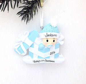Baby Boy in Present Christmas Ornament / Baby's First Christmas Ornament