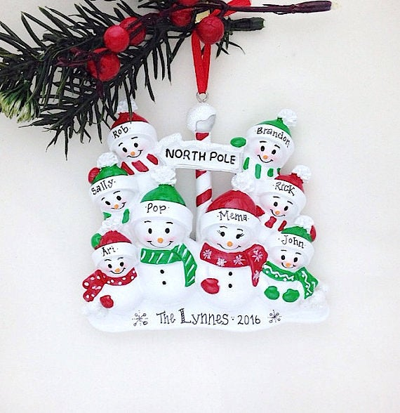 Family of 8 at the North Pole Personalized Christmas Ornament