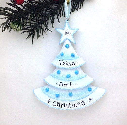 Blue Christmas Tree Personalized Christmas Ornament / Baby Boy / Baby's First