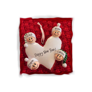 Family of 4 Around a Heart Personalized Christmas Ornament