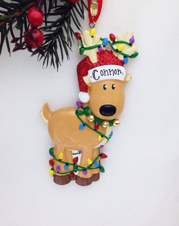 Reindeer Personalized Christmas Ornament / Reindeer Tangled in Christmas Lights / Christmas Ornament / Toddler Gift