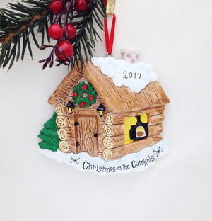 Log Cabin Personalized Christmas Ornament- Cabin Ornament - Vacation Ornament - Ski Trip - Custom Name or address