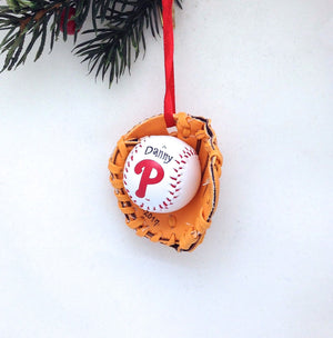 Personalized Phillies Baseball Glove Christmas Ornament / Phillies Baseball Mitt Ornament / Baseball Glove ornament