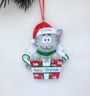 Gray Cat Personalized Christmas Ornament / Grey Kitten Christmas Ornament / Pet Christmas Ornament