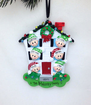 Family of 6 Home for Christmas Personalized Ornament