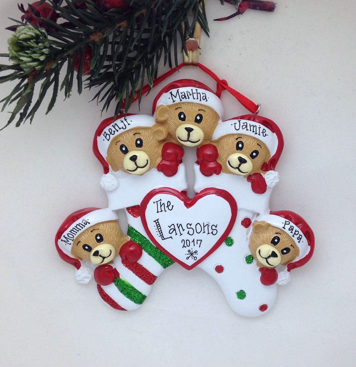 5 Teddy Bears in Christmas Stockings Personalized Ornament