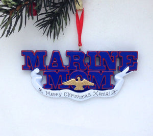 Marine Mom Personalized Christmas Ornament / Marines Ornament / Military Family Ornament / Armed Forces