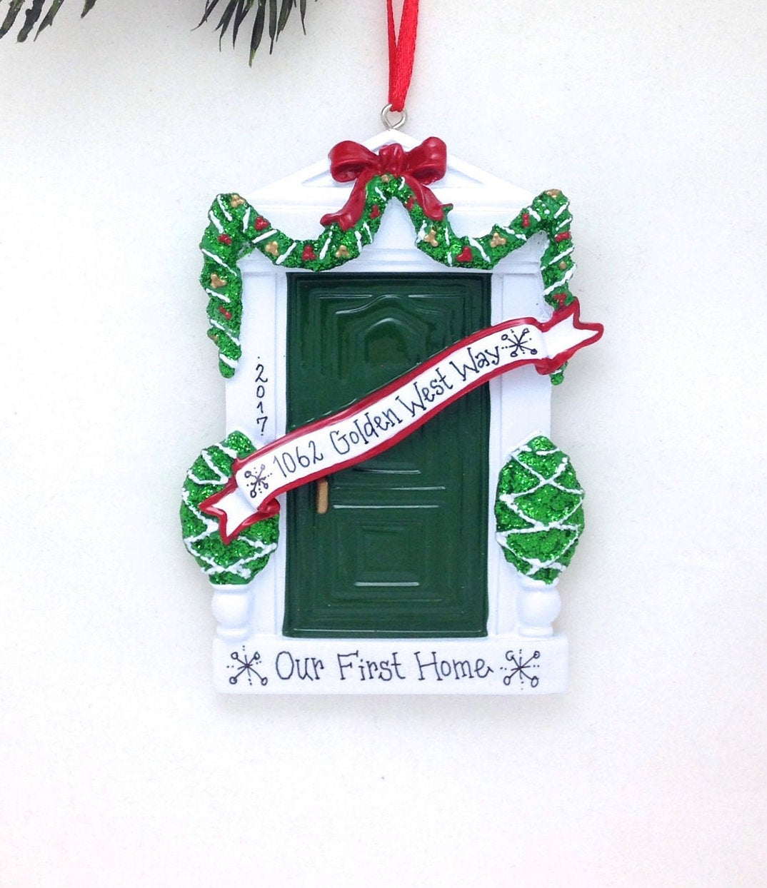 Green Door Personalized Christmas Ornament / Home Ornament