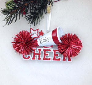 Cheerleader Christmas Ornament / Cheerleading Ornament Red Pom Poms / Personalized Christmas Ornament / Cheer Team Ornament