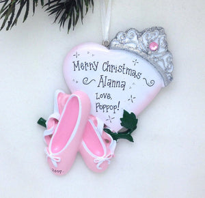 Ballet Ornament / Ballet Slippers with Heart and Crown / Princess Ornament