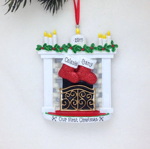 2 Stockings by the Fireplace Personalized Christmas Ornament