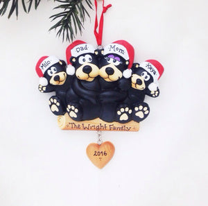 4 Black Bears Personalized Christmas Ornament