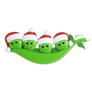 4 Peas in a Pod Personalized Christmas Ornament