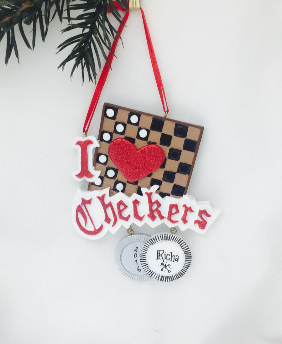 I Love Checkers Personalized Christmas Ornament / Games Ornament