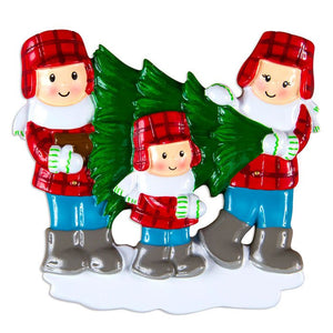 Family of 3 Choosing a Christmas Tree Personalized Ornament