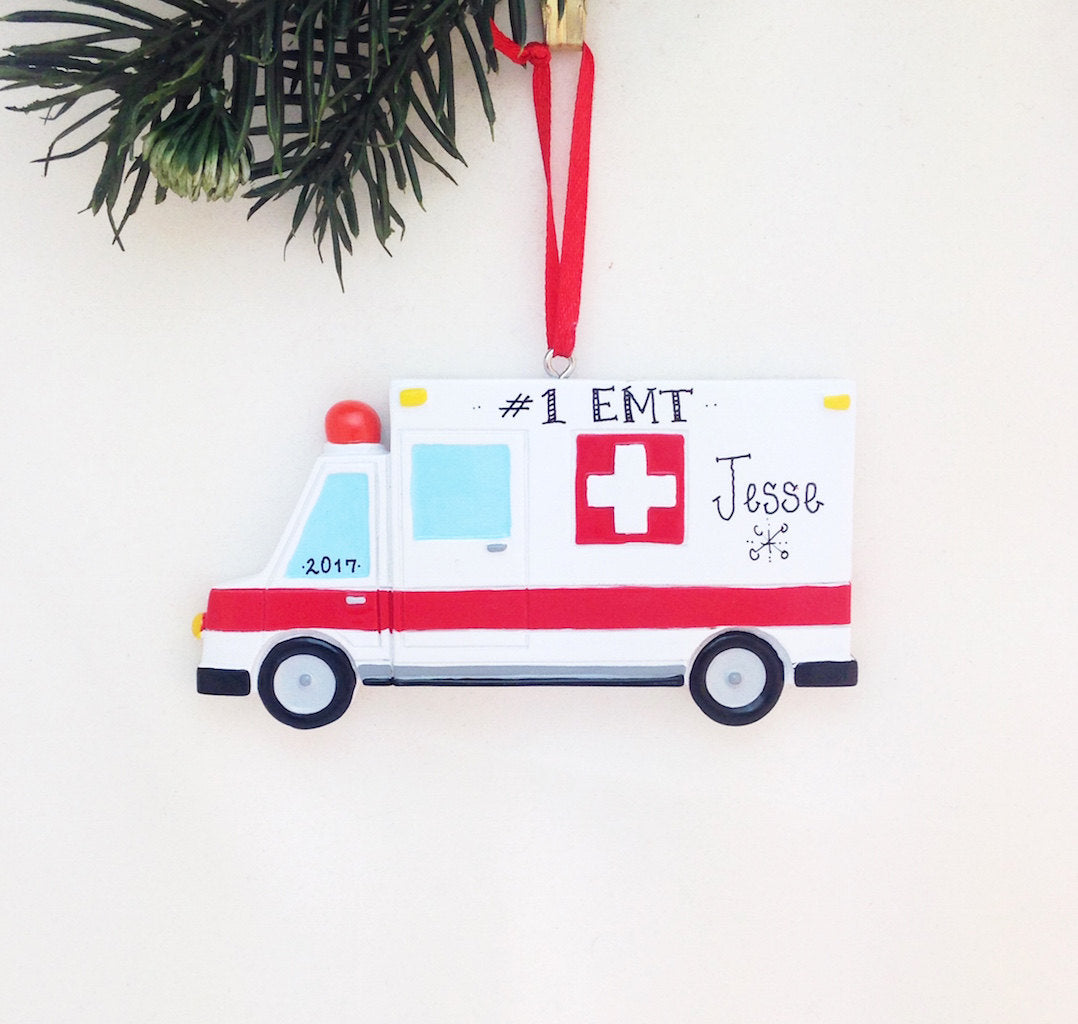 Ambulance Personalized Christmas Ornament / Ambulance Ornament / EMT Ornament