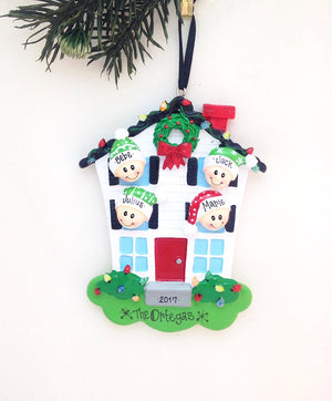 Family of 4 Home for Christmas Personalized Ornament