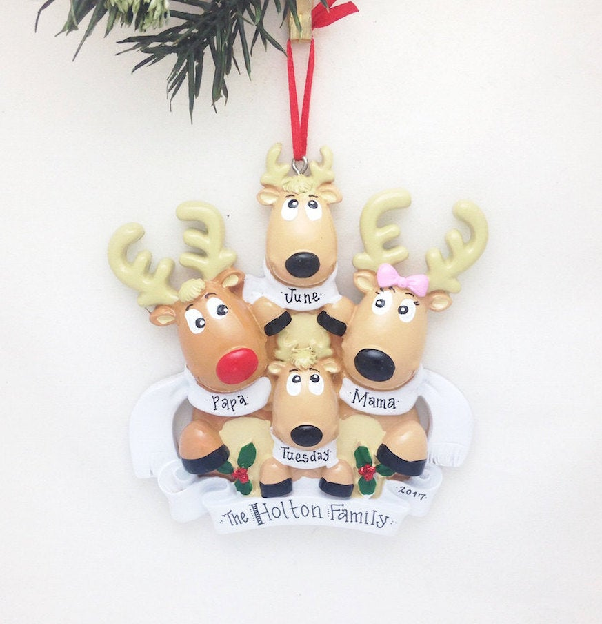 4 Reindeer with Scarves Personalized Christmas Ornament