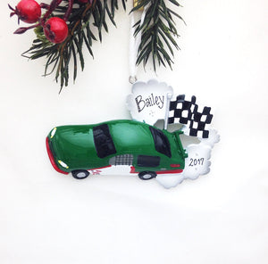 Green Stock Car Personalized Christmas Ornament / Racing Ornament / Racecar / Gift for kids