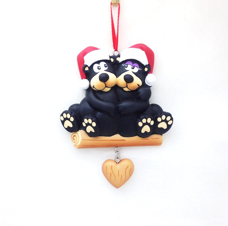 2 Black Bears Personalized Christmas Ornament