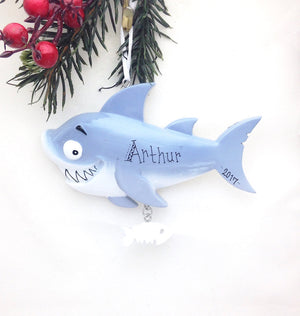 Shark Personalized Christmas Ornament / Ocean Ornament / Hand Personalized Christmas Ornament / We Add Name or Message
