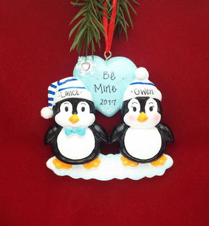 Penguin Couple on Ice Personalized Christmas Ornament / First Christmas / Couple ornament / Valentines Gift / Gift for Her / Custom Names