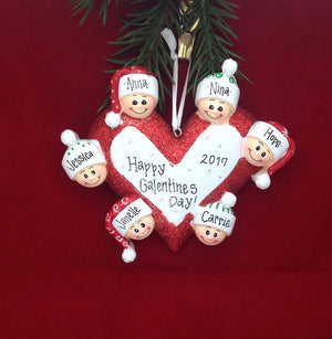 Family of 6 Around a Heart Personalized Christmas Ornament