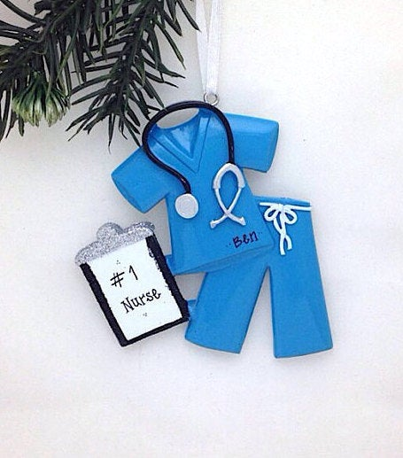 Blue Scrubs Personalized Christmas Ornament / Nurse Ornament / Doctor Ornament