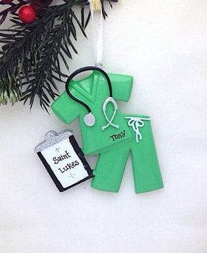 Green Scrubs Personalized Christmas Ornament / Nurse Christmas Ornament / Doctor Christmas Ornament / Custom Name or Message