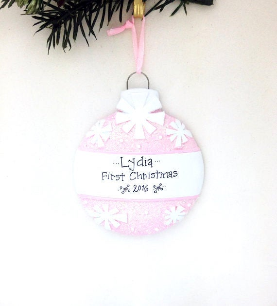 Pink Christmas Ball Personalized Christmas Ornament / Baby's First Christmas