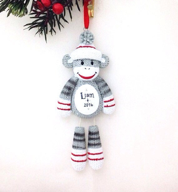 Sock Monkey Personalized Christmas Ornament / Baby Ornament / Gift for kids