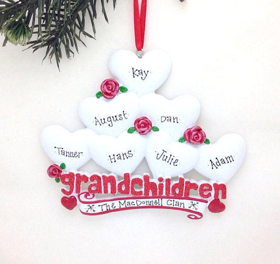 7 Grandchildren Personalized Christmas Ornament / Grandparents Ornament / Grandmother Ornament / Grandfather Ornament