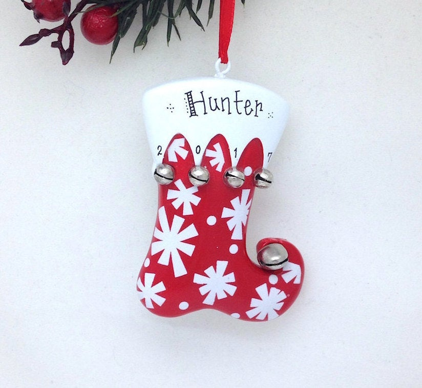 Stocking Personalized Christmas Ornament / Red Stocking with Bells and Snowflakes / Custom name or message