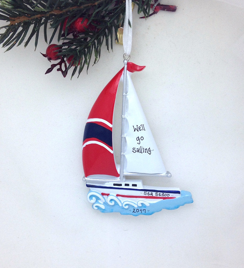 Sailboat with Red Sail Personalized Christmas Ornament / Boat Ornament / Beach Ornament / Personalized Name or Message