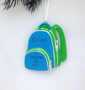 Backpack Personalized Christmas Ornament - Blue and Green