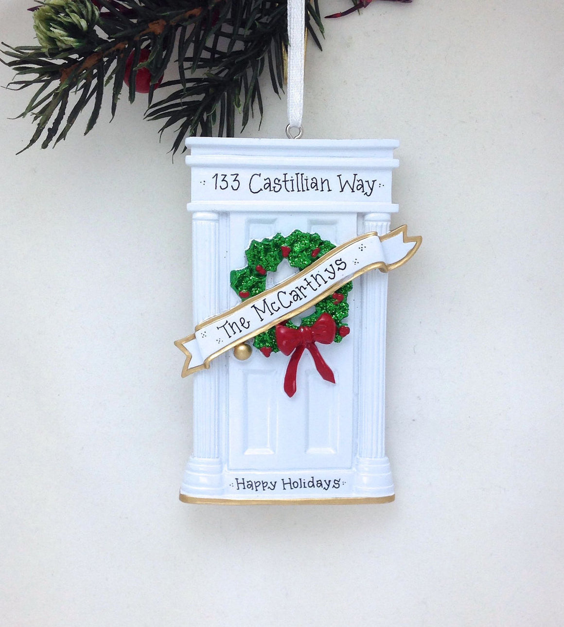 White Door Personalized Christmas Ornament / New Home Ornament / Real Estate
