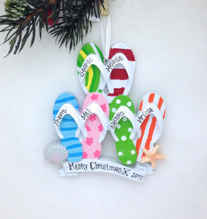 6 Flip Flops Personalized Christmas Ornament
