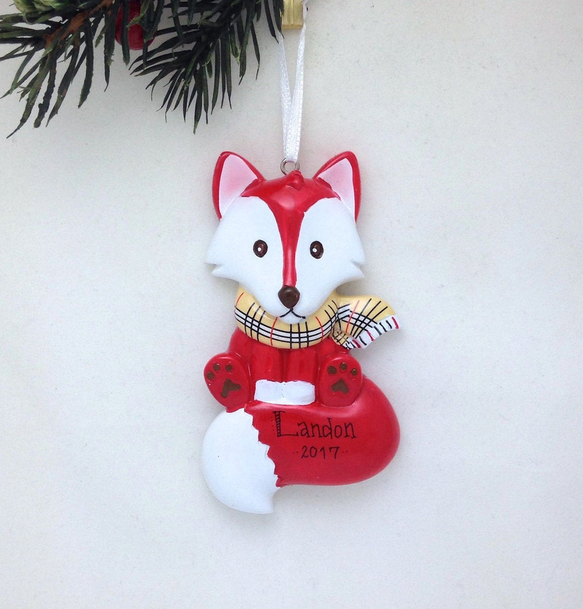 Personalized Christmas Ornament - Red Fox with Burberry Scarf - Hand personalized Christmas ornament