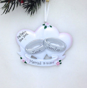 Wedding Rings Personalized Christmas Ornament / Wedding Ornament / First Christmas Married