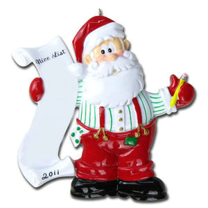 Santa Personalized Christmas Ornament / Santa's List / Nice List / Child / Toddler / Large family / 9 / 10 / 11 / 12 / 13