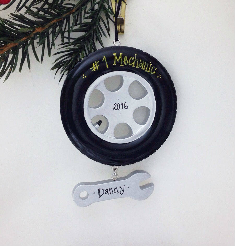 Tire & Wrench Personalized Christmas Ornament / Mechanic Ornament / Personalized Ornament / Dad Gift / Dad Christmas Ornament