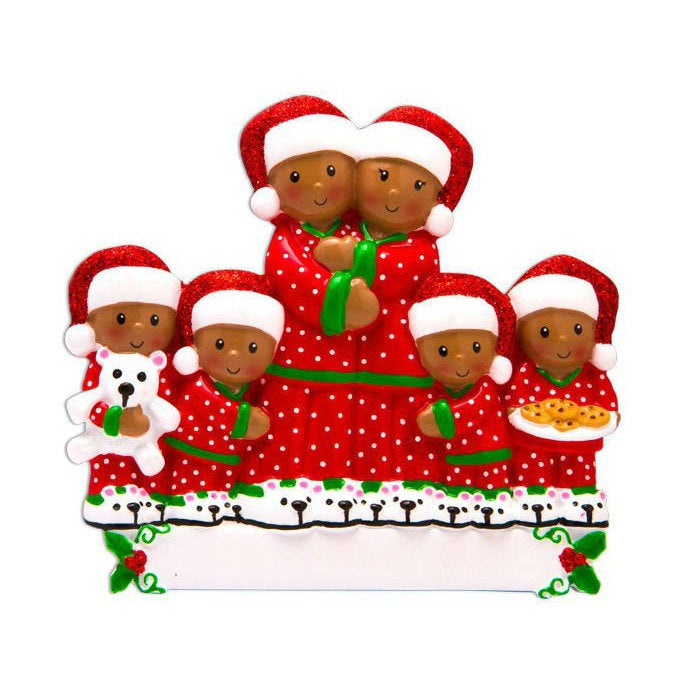 6 Family in Matching Pajamas Personalized Christmas Ornament / African American / Brown Family / Black Family