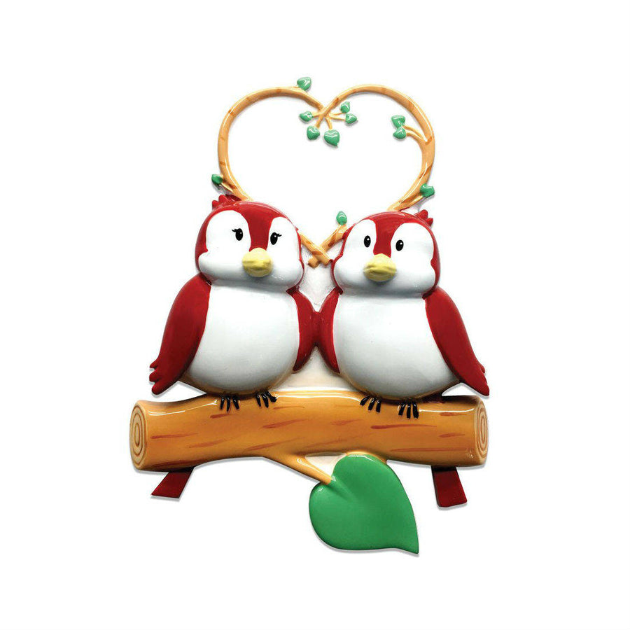 2 Red Birds Personalized Christmas Ornament