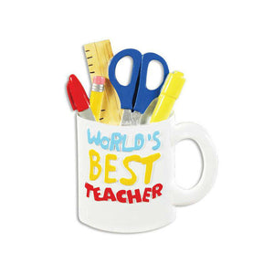 World's Best Teacher Personalized Christmas Ornament / Teacher Mug / Teacher Ornament / Teacher Gift / Best Teacher